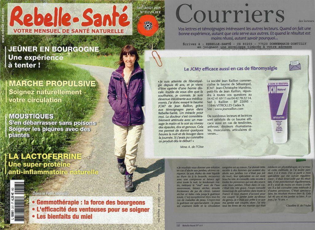 Témoignage dans le magazine Rebelle Sante de Aout 2019