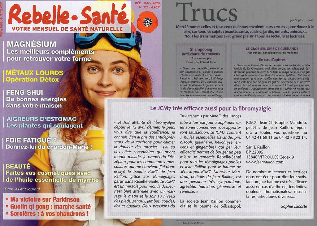 Témoignage dans le magazine Rebelle Sante de Janvier 2020